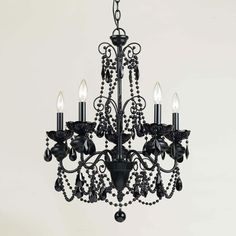 AF Lighting 7506-5H 5 Light Mischief Chandelier, Black (60W) - Lighting Universe ($278)