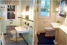 1949 Bathroom Renovation Before and After- Walk through the process of this DIY bathroom transformation from the ancient seafoam green ugly to a chic, modern and sleek bathroom you'll drool over! Large Bathrooms, Modern Bathroom, Small Bathroom, Master Bathroom, Boho Bathroom, Bathroom Renos, Bathroom Renovations, Home Remodeling, Bathroom Ideas