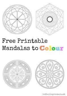 printable mandalas to colour, grown up colouring pages (or advanced / detailed colouring pages for older kids)