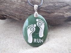Barefoot Running   Engraved Stone Jewelry by CreativeArtandSoul. Thanks @Emily Johnson for sending me this :)