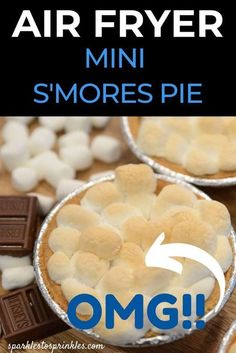 Air Fryer Mini S'mores Pie is the ultimate dessert to whip up in your air fryer. This recipe from Sparkles to Sprinkles features a golden graham cracker crust, marshmallows and Hershey's chocolate that all comes together for the ultimate s'mores pie that everyone will love, especially kids! Air Fryer Recipes Dessert, Air Fryer Oven Recipes, Air Frier Recipes, Smores Pie, Smores Dessert, Mini Pie Crust, Air Fried Food, Air Frying, Delicious Recipes