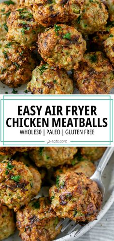 The ultimate Air Fryer Meatballs - tender juicy meatballs made with ground chicken, zucchini, and a few pantry staple spices. #airfryermeatballs #airfryerrecipes #chickenmeatballs #meatballrecipes #whole30recipes How To Cook Meatballs, Chicken Meatballs, Paleo Whole 30, Whole 30 Recipes, Healthy Meals, Healthy Eating, Healthy Recipes, Air Fryer Oven Recipes, Lactose Free Recipes