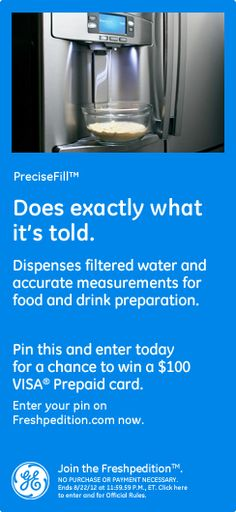 PreciseFill™ – Does exactly what it's told. Dispenses filtered water and accurate measurements for food and drink preparation.  #GEFreshOH