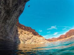 """Lake Mead, Nevada """"But he'd learned long ago that a life lived without risks pretty much wasn't worth living. Life rewarded courage, even when that first step was taken neck-deep in fear. Lake Mead Nevada, Places Around The World, Around The Worlds, Cliff Diving, Neck Deep, Take Risks, Natural Wonders, Mother Nature, Places To Go"""