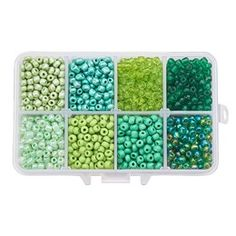 Multicolor Beading Glass Seed Beads Tube Beads 24 Colors 4mm Pony Bead Round Spacer Mini Beads Approx 7200pcs with Container Box for Jewelry Making