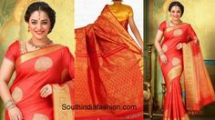 nitya_menon_red_silk_saree