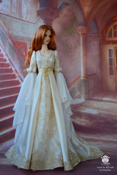 Gold elf dress for SD bjd doll, bjd dress, (Iplehouse SID, Fairyland FeePle, soom SG)