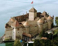 Chillon Castle in Veytaux is on Lake Geneva in Switzerland.