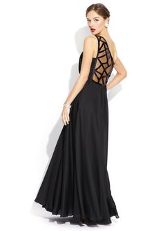 I love the back on this!!!!  SANCHEZ BY ANGEL SANCHEZ Geometric One Shoulder Gown