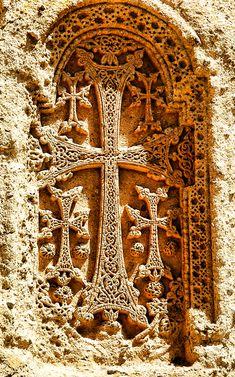 armenianhighland:  Armenian cross-stone on 4th century monastery Geghard.