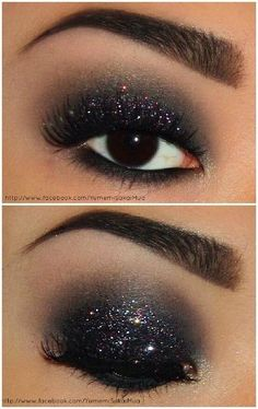 Dark, shimmery, glittery eyes. Color Icon Glitter Single in Panther #makeup #love #sparkle #dark