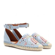 Valentino A Jour Embroidered Leather Espadrilles (1,790 PEN) found on Polyvore featuring shoes, sandals, flats, valentino, blue, valentino sandals, blue flat shoes, leather shoes, blue leather flats and espadrilles shoes