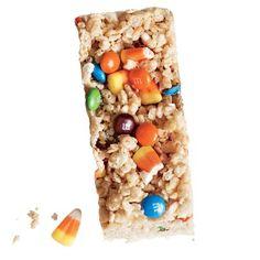Candy Corn M&M's Chewy Crispy Bars Recipe | CookingLight.com