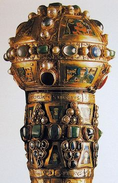 File:Staff-reliquary of St Peter. Date 988,from Cathrdral of Limburg,Lahn Gold,gems,enamels,pearls.