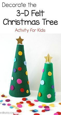 Decorate the 3-D Felt Christmas Tree: Fine motor Christmas activity for toddlers and preschoolers ~ BuggyandBuddy.com