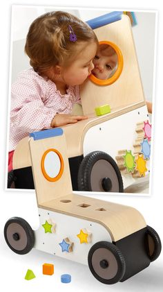 Chariot de marche en bois Woody pour enfant dès 9 mois