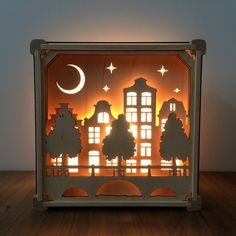 Night Light Grachten Buildings by houtlokael on Etsy