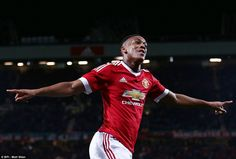 Martial celebrates scoring his fourth goal since joining Manchester United at the end of the transfer window