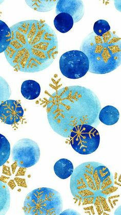 Blue and gold Christmas snowflake snow