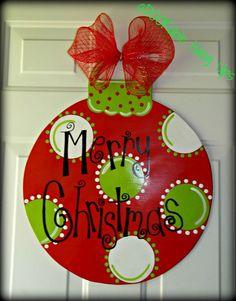 Christmas Ornament Door Hanger on Etsy, $30.00 | Christmas | Pinterest