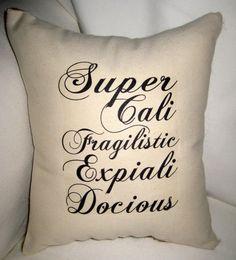 Mary Poppins Supercalifragilisticexpialidocious Burlap Pillow, Baby Nursery or Childrens Room Typography Cushion, Shabby Chic Home Decor