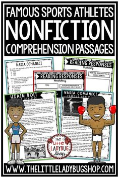 Grow your students knowledge of Athletes and Sports Figures with these Nonfiction Reading Comprehension Passages. These reading passages are wonderful for your students to study these famous athletes including David Beckham, Mohammad Ali, Wilma Rudolph. #nonfictionreadingpassages #nonfictioncomprehension #nonfictionpassages #sportsresearch #athletesresearch