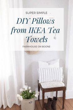 Super Simple DIY Pillows from IKEA Tea Towels Drop Cloth Projects, Diy Sewing Projects, Sewing Diy, Simple Diy, Super Simple, Easy Diy, Ikea Towels, Diy Pillows, Diy Home Improvement