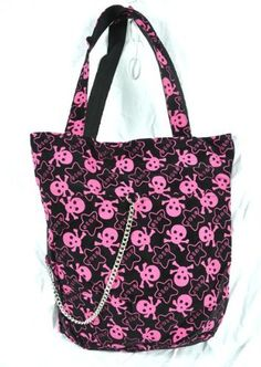 Pink Skull Star 80s Punk Tote Bag Purse Chain Emo Rockabilly Goth Rock Glam Vamp by Dysfunctional Doll - Bags, http://www.amazon.com/dp/B007MPCS24/ref=cm_sw_r_pi_dp_T3acrb0RCM4AM