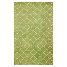 Stylishly anchor your living room or master suite with this delightful hand-tufted wool rug, showcasing an artful quatrefoil trellis motif in green....
