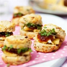 Spring onion and bacon scones with cress, cheese and chutney Recipe | delicious. Magazine free recipes