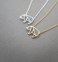 bear necklace Animal Jewelry Origami bear geometric by LaSenada