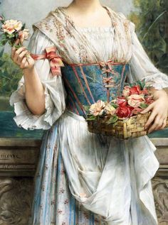 Leon Francois Comerre (1850-1916) The Flower Seller, detail.
