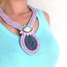 http://ift.tt/1HqKJvz #pastel #purple #mint #rope #flower #beaded #satinrope #cord #bold #chunky #necklace #neckless #etsy #handmade #ooak #tribal #bohochic #bohoglam #neotribal #gypset