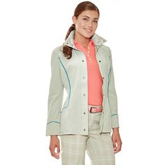 Lizzie Driver Geneva Jacket in Stone with Blue Trim, great for fall - golf4her.com