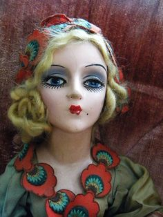 Antique 3 Foot Long Flapper Bed Doll with Real Eyelashes and Amazing Costume Original 1920's