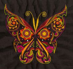 broderie glazigbri Broader I ee glazing Jacobean Embroidery, Hand Work Embroidery, Butterfly Embroidery, Embroidery Motifs, Creative Embroidery, Machine Embroidery Patterns, Hand Embroidery Designs, Machine Quilting, Couture Embroidery