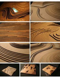 Collage of landscape architecture student cardboard models