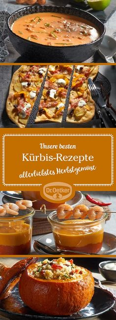 Pumpkin recipes - great ideas from Dr. Oetker - Let yourself be taken by the wide range of pumpkin recipes that Dr. Oetker experimental kitchens we - Postres Halloween, Halloween Desserts, Halloween Ideas, Paleo Meal Plan, Good Food, Yummy Food, Slow Cooker Tacos, Vegan Appetizers, Pumpkin Dessert