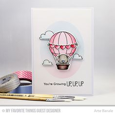 Handmade card from Arte Banale featuring Up in the Air Stamp Set and Die-namics and Oval STAX Set 1 Die-namics from My Favorite Things Card Making Inspiration, Making Ideas, Bday Cards, Mft Stamps, Winter Cards, Cards For Friends, Sympathy Cards, Digital Stamps, Kids Cards