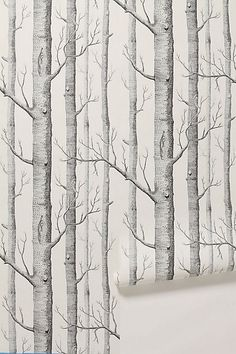 I always knew I wanted to do an accent wall of wallpaper in the nursery, on the small wall with the door. I wanted to find a cool wallpaper. B&w Wallpaper, Unique Wallpaper, Nursery Wallpaper, Pattern Wallpaper, Forest Wallpaper, White Wallpaper, Cloakroom Wallpaper, Amazing Wallpaper, Tree Wallpaper Print