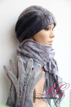 Купить Валяный комплект Серебристый туман - валяная шапка, шапка женская, шапка валяная