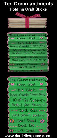 Ten Commandment Folding Craft Stick Craft  other ideas for teaching 10 Commandments