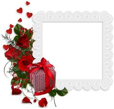Beautiful White Transparent Frame with Hearts and Red Roses and Gift