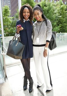 Love! GF's are fierce. @Laura Jayson F. Huff Post Style #NYFW #MBFW  Street Style.  Need those white pants.