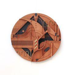 Machas Artist Tooco - NEW Circular Installation Wall Sculptures, Wood Sculpture, Art Academy, Visionary Art, Mosaic Art, Installation Art, Projects To Try, Bedroom Decor, Woodworking
