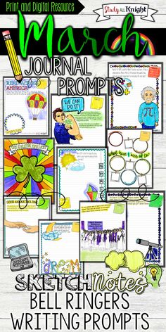 Middle School Language Arts | High School English | Bell ringers | Visual learning.Teachers' writing lessons get creative with these journal prompts and journal writing templates. March themes: Pi Day, Read Across America, Spring, Women's History Month, Dreams, Good Samaritan, St. Patrick's Day, Luck | March Journal Prompts | Grades 6, 7, 8, 9, 10, 11, 12 | Sketchnotes style and doodle notes. ($)