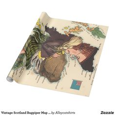 Vintage Scotland Bagpiper Map (1868) Wrapping Paper