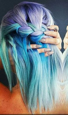 blue pastel braided dyed hair color @theodoraraptis