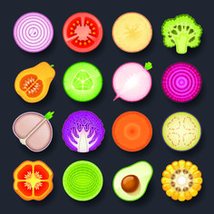 Vivid food icon design vector 02