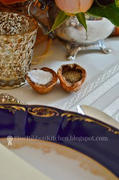 Blue Ribbon Kitchen | Use salt cellars in nutshells for Thanksgiving or fall dinner parties.